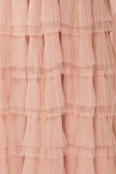 Marisol Blush Mesh Gown w/ Layered Ruffle Skirt | FABRIC DETAIL | Boutique 1861