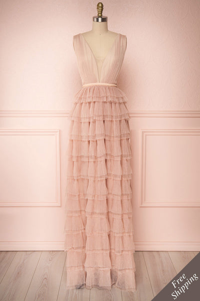 Marisol Blush Mesh Gown w/ Layered Ruffle Skirt | FRONT VIEW | Boutique 1861