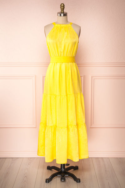 Marjolaine Yellow Mock Neck Maxi Summer Dress | Boutique 1861 front view