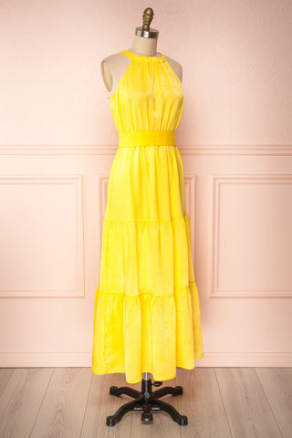 Marjolaine Yellow Mock Neck Maxi Summer Dress | Boutique 1861 side view