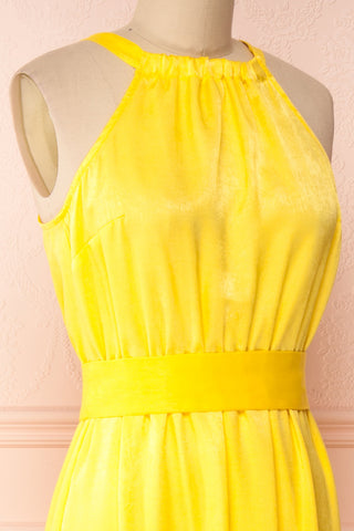 Marjolaine Yellow Mock Neck Maxi Summer Dress | Boutique 1861 side close-up