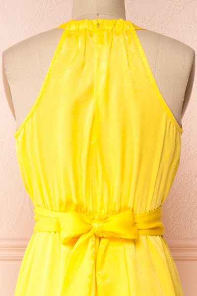 Marjolaine Yellow Mock Neck Maxi Summer Dress | Boutique 1861 front close-up