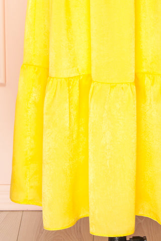 Marjolaine Yellow Mock Neck Maxi Summer Dress | Boutique 1861 bottom close-up