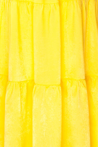 Marjolaine Yellow Mock Neck Maxi Summer Dress | Boutique 1861 fabric details