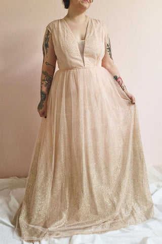 Marjolie Pink Glitter Tulle Maxi A-Line Gown | Boutique 1861 on model