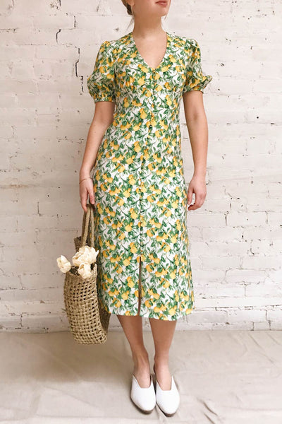 Marketa Green Patterned Midi Dress | Boutique 1861 model look