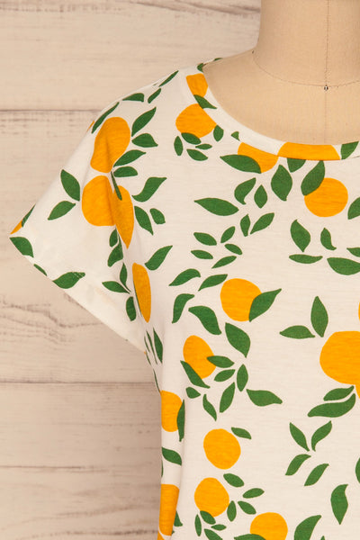 Markova White Lemon Print T-Shirt | La petite garçonne  front close-up