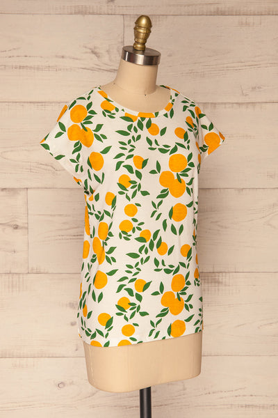 Markova White Lemon Print T-Shirt | La petite garçonne  side view