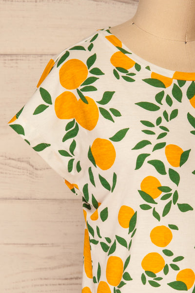 Markova White Lemon Print T-Shirt | La petite garçonne  side close-up