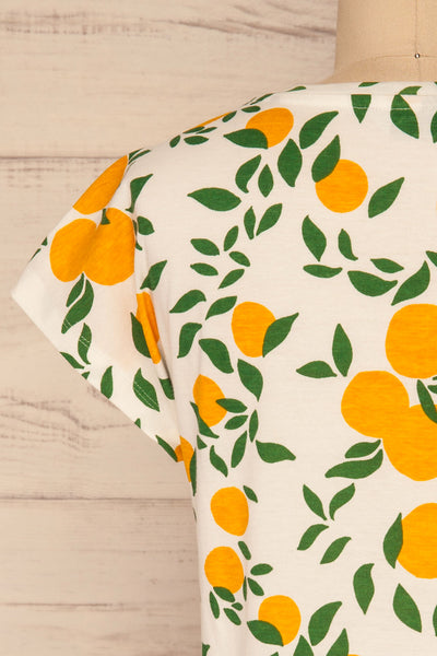 Markova White Lemon Print T-Shirt | La petite garçonne  back close-up