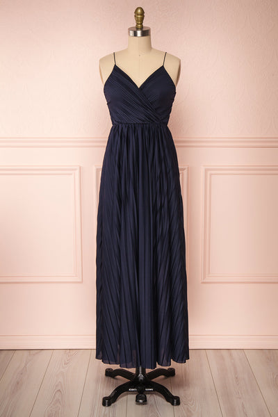 Marly Rain Navy Blue Sleeveless A-Line Dress | Boutique 1861 front view
