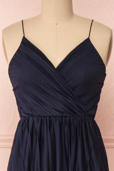 Marly Rain Navy Blue Sleeveless A-Line Dress | Boutique 1861 front close-up