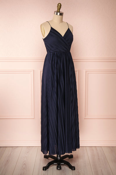 Marly Rain Navy Blue Sleeveless A-Line Dress | Boutique 1861 side view
