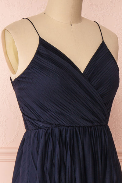 Marly Rain Navy Blue Sleeveless A-Line Dress | Boutique 1861 side close-up