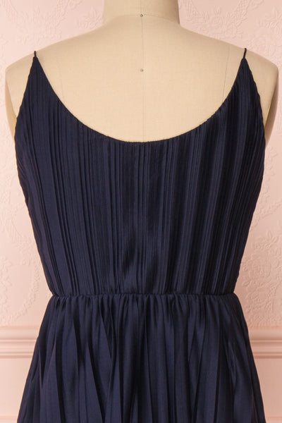 Marly Rain Navy Blue Sleeveless A-Line Dress | Boutique 1861 back close-up