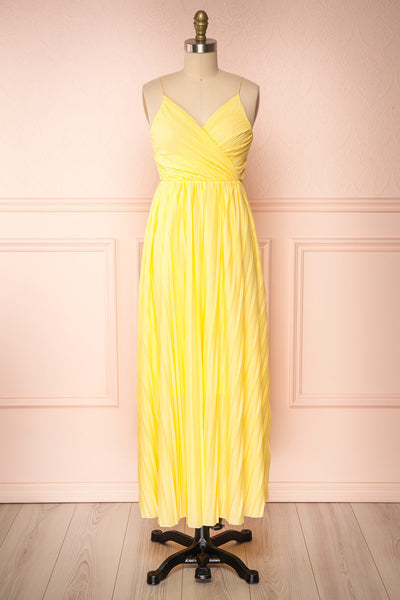 Marly Sun Yellow Sleeveless A-Line Dress | Boutique 1861 front view