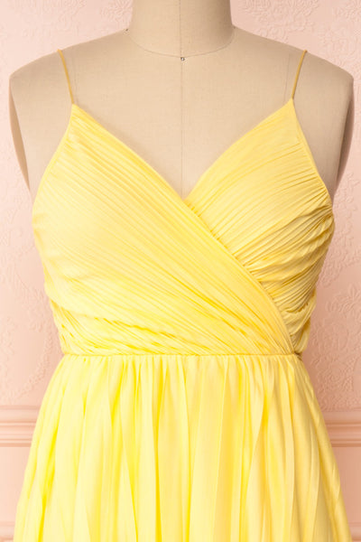 Marly Sun Yellow Sleeveless A-Line Dress | Boutique 1861 front close-up
