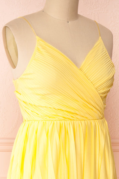Marly Sun Yellow Sleeveless A-Line Dress | Boutique 1861 side close-up