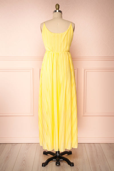 Marly Sun Yellow Sleeveless A-Line Dress | Boutique 1861 back view