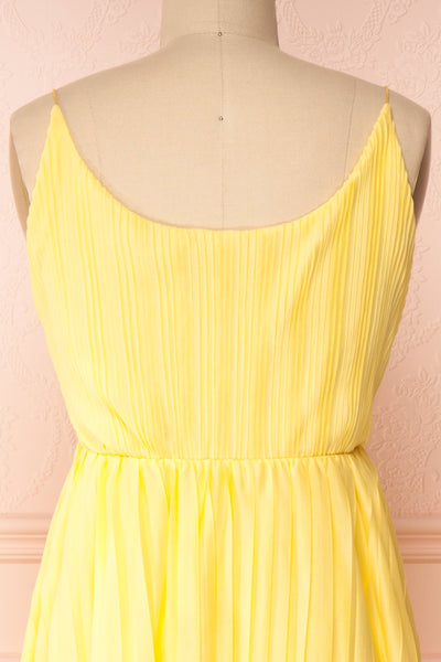 Marly Sun Yellow Sleeveless A-Line Dress | Boutique 1861 back close-up