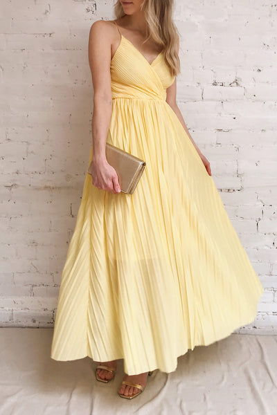 Marly Sun Yellow Sleeveless A-Line Dress | Boutique 1861 model look