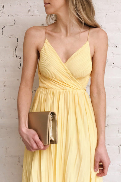 Marly Sun Yellow Sleeveless A-Line Dress | Boutique 1861 on model