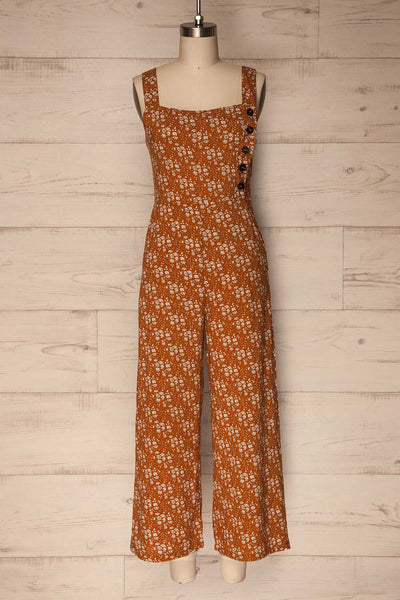 Marmaron Orange Floral Button-Up Jumpsuit | Boutique 1861