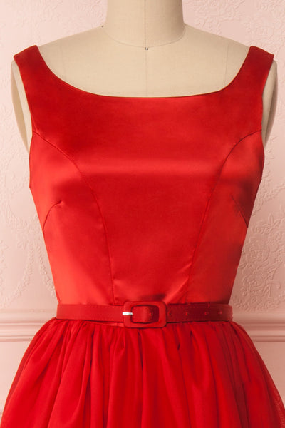 Maruela Rouge Red A-Line Flared Midi Dress | Boutique 1861 front close-up belt
