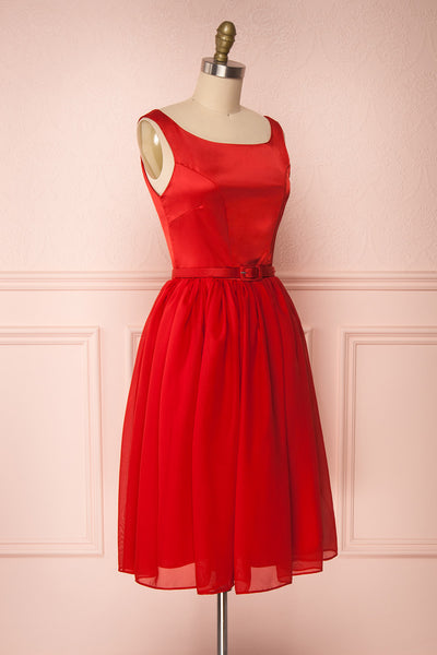 Maruela Rouge Red A-Line Flared Midi Dress | Boutique 1861 side view
