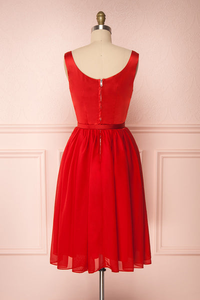 Maruela Rouge Red A-Line Flared Midi Dress | Boutique 1861 back view