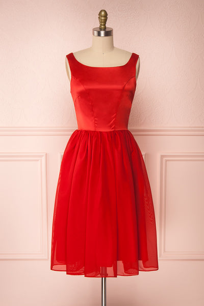 Maruela Rouge Red A-Line Flared Midi Dress | Boutique 1861  front view