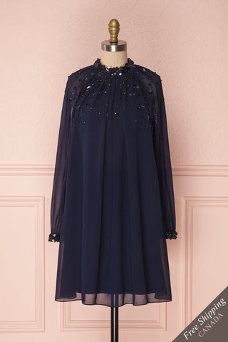 Marunui 60s Inspired Navy Chiffon Cocktail Dress | Boutique 1861