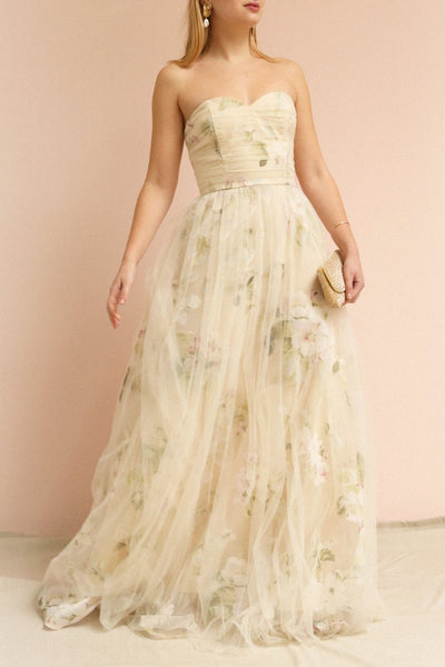 Marylou Blush Pink Tulle Floral Bustier Maxi Gown | Boutique 1861 on model