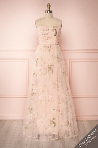 Marylou Blush Pink Tulle Floral Bustier Maxi Gown | Boutique 1861