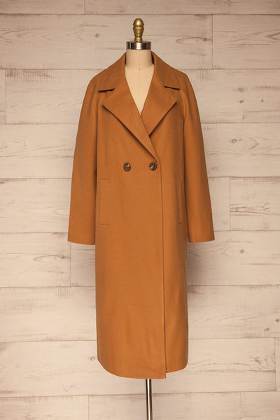 Mataro Brown Mid-Length Trench Coat | La petite garçonne no belt view