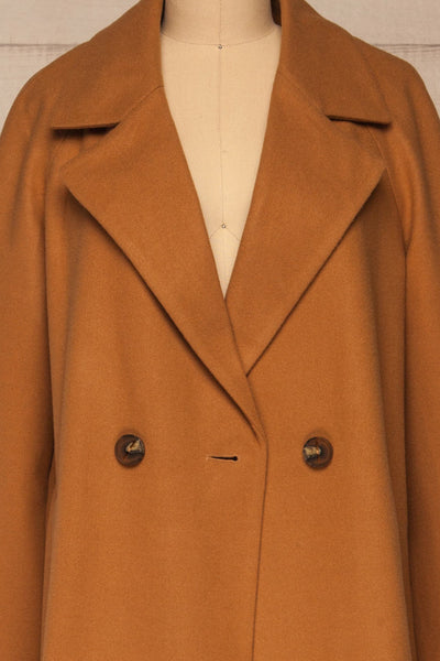 Mataro Brown Mid-Length Trench Coat | La petite garçonne open close-up