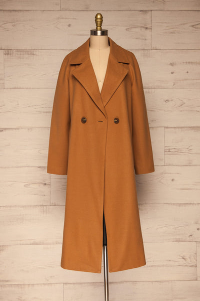 Mataro Brown Mid-Length Trench Coat | La petite garçonne open view