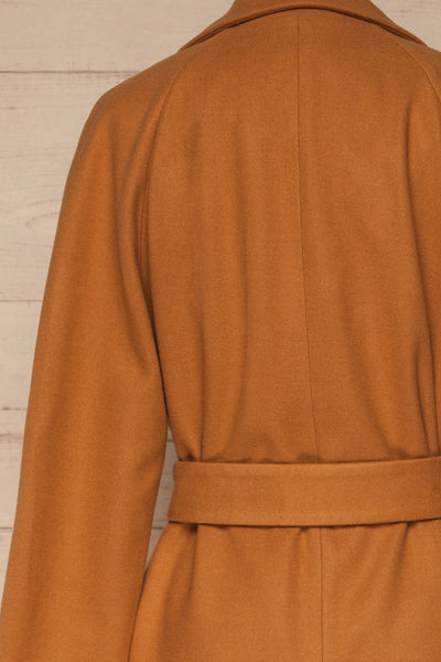 Mataro Brown Mid-Length Trench Coat | La petite garçonne back close-up