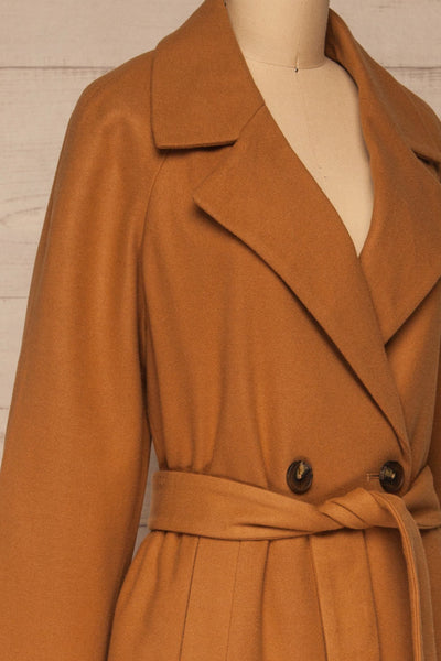 Mataro Brown Mid-Length Trench Coat | La petite garçonne side close-up