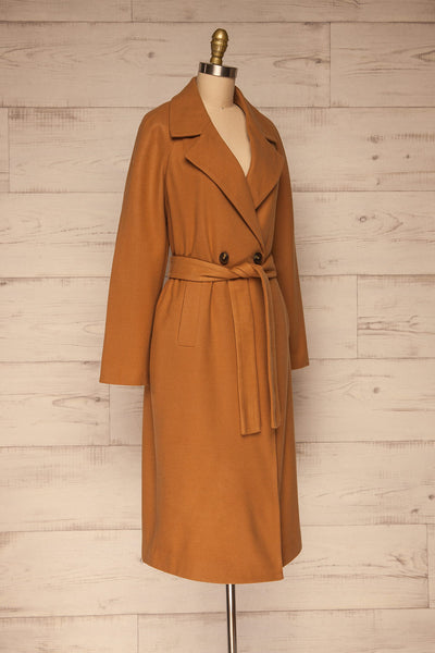 Mataro Brown Mid-Length Trench Coat | La petite garçonne side view