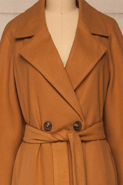 Mataro Brown Mid-Length Trench Coat | La petite garçonne front close-up