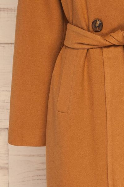 Mataro Brown Mid-Length Trench Coat | La petite garçonne sleeve