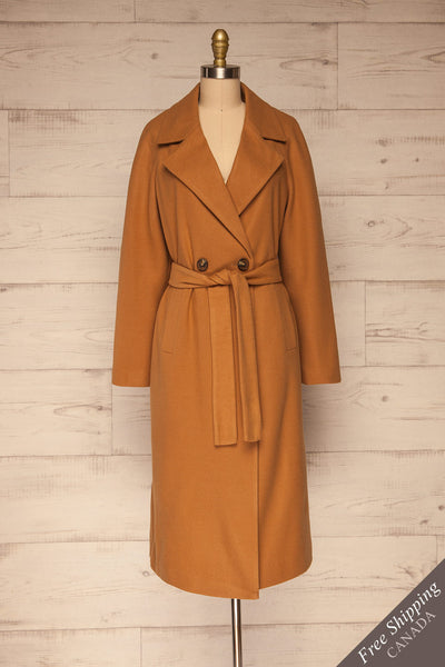 Mataro Brown Mid-Length Trench Coat | La petite garçonne front view