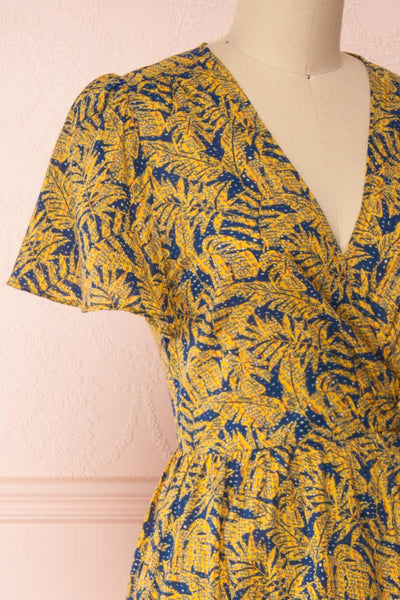 Matergabia Yellow & Blue Midi Wrap Dress | Boutique 1861 side close-up