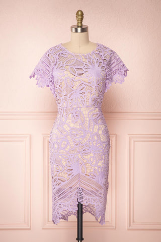 Mattea Lilac Crocheted Lace Fitted Cocktail Dress | Boutique 1861
