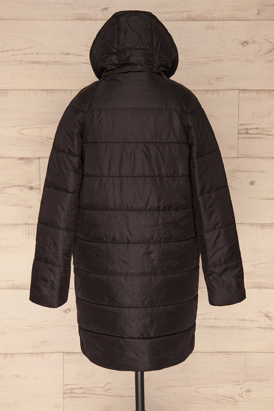 Matviy Night Black Quilted Coat with Hood | La Petite Garçonne back view hood