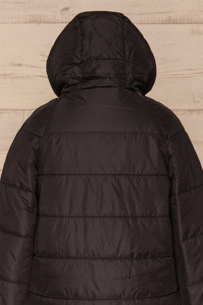 Matviy Night Black Quilted Coat with Hood | La Petite Garçonne back close-up hood