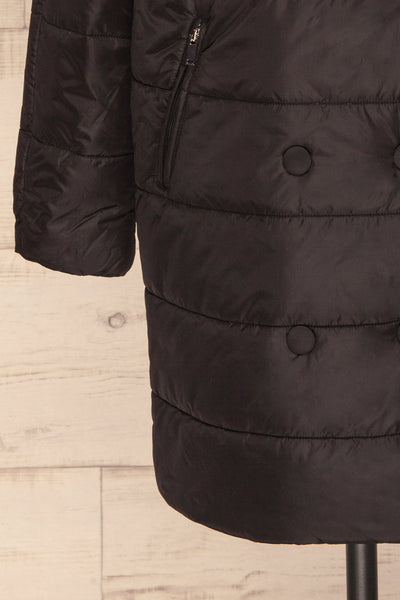 Matviy Night Black Quilted Coat with Hood | La Petite Garçonne bottom close-up