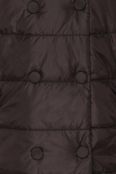 Matviy Night Black Quilted Coat with Hood | La Petite Garçonne fabric detail front