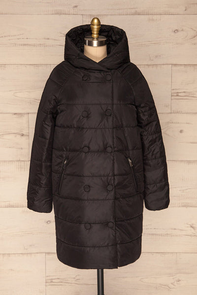 Matviy Night Black Quilted Coat with Hood | La Petite Garçonne